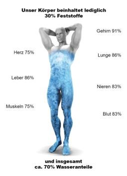 Unser Körper besteht zu 70% aus Wasser. Um den Körper zu entschlacken, sollten wir lebendiges Wasser trinken.